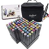L-JUWA マーカーペン コピックペン 80色セット ペンスタンド スケッチブック付き 太細両端 塗り絵、描画、落書き、学習用 touch coolマーカーペン キャリングケース付き (80色+スケッチブック)