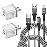Phone Charger Cable 6 FT with Wall Plug, WHIRELEAST Braided Long Phone Charging...