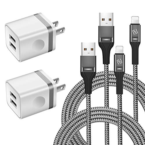 LUOBOL Phone Charger Cable 10 FT with Wall Plug, Braided Long Phone Charging Cord + Dual USB Wall Charger Block Adapter Compatible with iPhone 11/11 Pro Max/XS/XR/X/8/7/6 Plus, iPad (4-Pack)