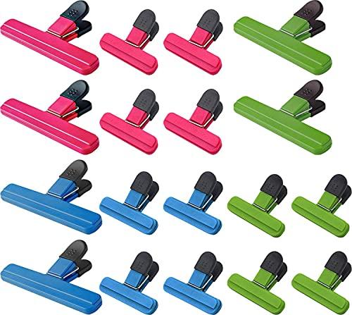 WUWEOT 18 Stück 2 Größe Verschlussclips für Tüten Verschlussklammern Kunststoff Lebensmittelklammer Tütenclips Food Bag Clips Chip Clips Verschlussklemmen Verschlussclips für Beutel 3 Farben