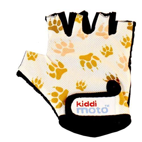 KIDDIMOTO Kinder Fahrradhandschuhe Fingerlose für Jungen und Mädchen/Fahrrad Handschuhe/Bike Kinder Handschuhe - Pfotenabdrücke - M (4-8y)