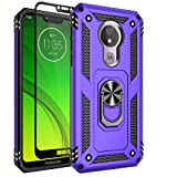 Sunbrightful for Motorola Moto G7 Power Case, Moto G7 Supra Case, Military Grade Drop Protection Defender Kickstand Case with Tempered Glass Screen Protector for Moto G7 Power - Purple
