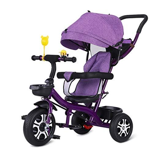 GCXLFJ Triciclo Bebe Triciclo,Pedal Ajustable,Triciclo Multifuncional,Diseño De Dos Vías for Sentarse,Triciclo for Bebés,3 Colores,90x90x58cm (Color : Purple)