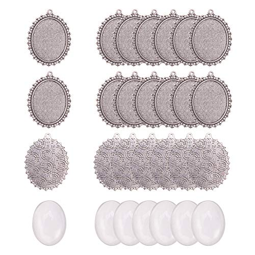 PandaHall 10 Piezas Bandejas Colgantes ovaladas de Plata Antigua Bisel en Blanco con 10 Piezas Azulejos de cúpula cabujón de Vidrio Transparente para la fabricación de Joyas DIY