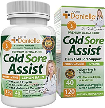 Best Cold Sore Supplement with Lysine and Lemon Balm - Dr Danielle Cold Sore Assist - 120 Capsules