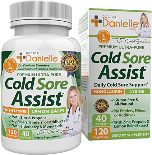 Best Cold Sore Supplement with Lysine and Lemon Balm - Dr. Danielle Cold Sore Assist - 120 Capsules