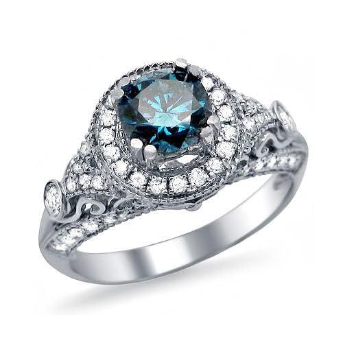 Blue Diamond Engagement Ring Amazon Com