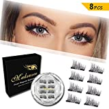 Maksuzee Half-Eye Magnet Eyelashes Dual Magnetic False Eyelashes with NO GLUE,Fake Lashes Extension for Natural Look 8 Pieces /2 pair
