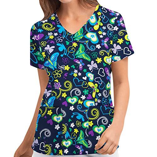 MEIbax Enfermera Tops Cuello de Pico de Manga Corta Mujer Uniforme Huella Animal Estampado Uniforme de Trabajo Tops de Enfermera Mujer Camisetas de Manga Corta Ropa de Trabajo Blusa Manga Corta