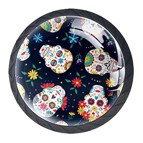 4 piezas colorido cristal armario armario cajón puerta tirador tirador de puerta Slull México Halloween