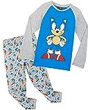 Sonic The Hedgehog Pijama Niño, Pijamas De Algodon De Manga Larga, Gaming Merchandise para Niños Y Adolescente De 4 A 14 Años (Azul/Gris, 7-8 años)