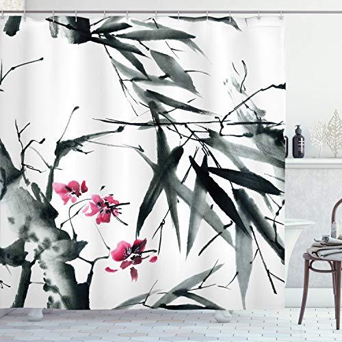 ABAKUHAUS Japanisch Duschvorhang, Natural Spring Buds, Leicht zu pflegener Stoff mit 12 Haken Wasserdicht Farbfest Bakterie Resistent, 175 x 220 cm, Dunkelgrün Fuchsia