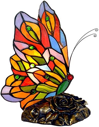 Mariposa Tiffany Style Mesa / Lámpara decorativa Pastoral Vitral Lámpara de escritorio Lámpara para niños Luz nocturna para sala de estar Dormitorio Mesita de noche Cafe Bar