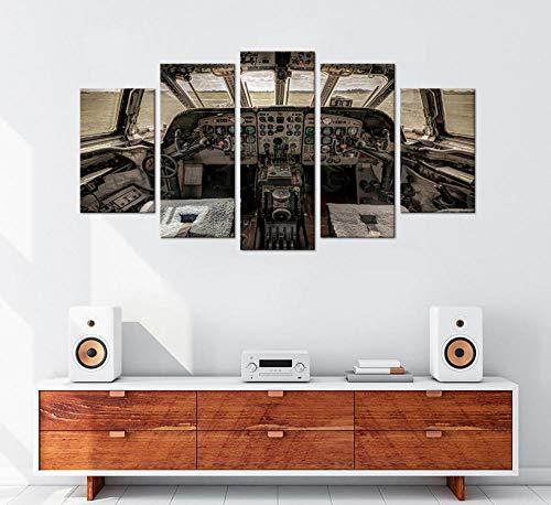 cmhai muurkunst vliegtuig cockpit oud beeld digitaal schilderij wooncultuur 5 stuks vliegtuig control board canvas 20 x 35 cm x 2 20 x 45 cm x 2 20 x 55 cm x 1
