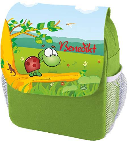 Mein Zwergenland Kindergartenrucksack Happy Knirps Next Print mit Name Schildkröte, 6L, Grün