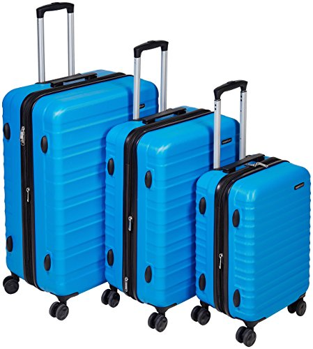 Amazon Basics - Set di trolley rigidi con rotelle girevoli, Set da 3 pezzi (55 cm, 68 cm, 78 cm), Blu chiaro