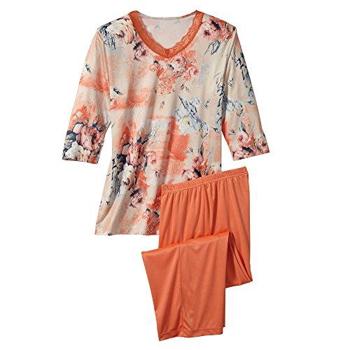 Damen Mikrofaser Pyjama Damen Schlafanzug Rosen orange Nachthemd S : S Größe S