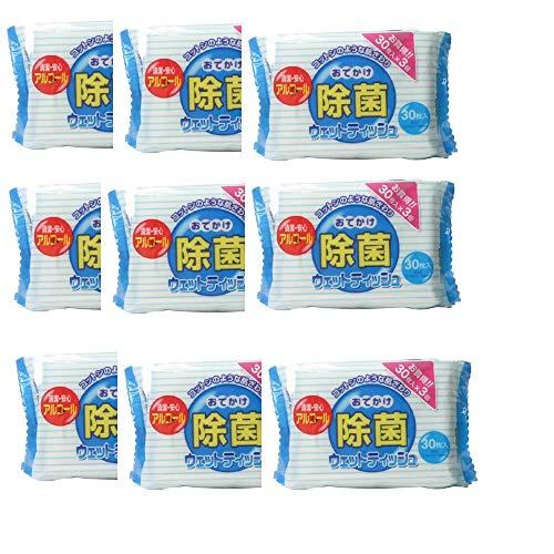 まとめ買いセット 除菌おでかけウェットティッシュ 30枚入×9個セット 合計270枚 M-33