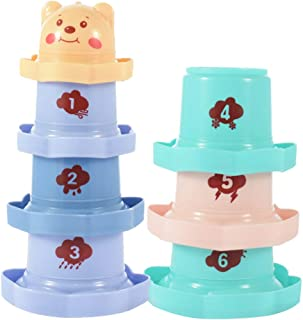 LuDa Rainbow Stacking Toy Bath Toy for Bathtub Intelligence Toddlers Kids Baby Indoor Play Toys Gifts