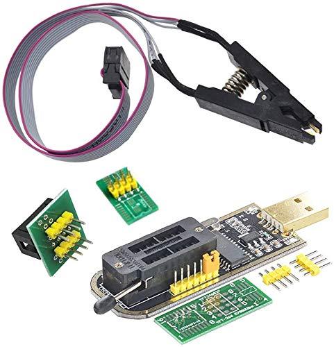 Coomatec SOIC8 SOP8 Flash Chip IC Clips de Prueba, adaptador de enchufe, programador USB CH341A módulo BIOS / 24/25/93, 24 25 Series EEPROM Flash BIOS con software y controlador