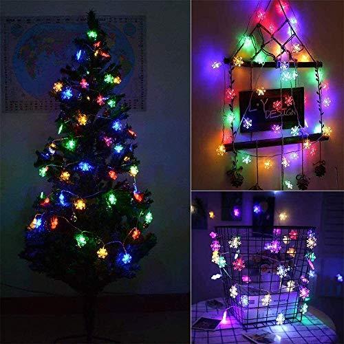 Luces de hadas de copo de nieve, 6m 40 LED Luces de cadena impermeable impermeable Operado para la batería para el dormitorio Patio Room Home Navidad Decoración interior Decoraciones al aire libre