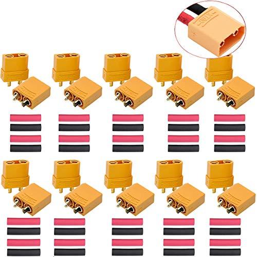 ZHANChen XT90 Stecker XT-90 Adapter Männlich Weiblich Buchse Rundstecker Lipo Stecker für RC Lipo Akku 20 Stück (10 Paar)
