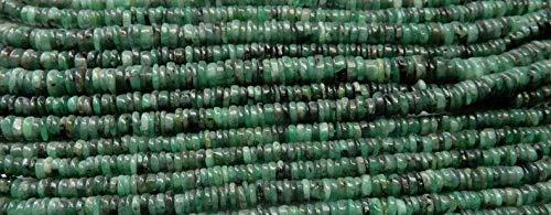 Natural Smooth Esmeralda talones del neumático / Heishi Forma de piedras preciosas perlas | 4.5-5.5 mm Rondelle Plain para hacer la joyería | 14' | Strand granos flojos de la calidad del AAA