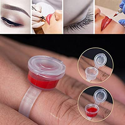 Tattoo Ring,Chartsea Tattoo Permanent Eyelash Makeup Ink Cup Cap Finger Ring Holder