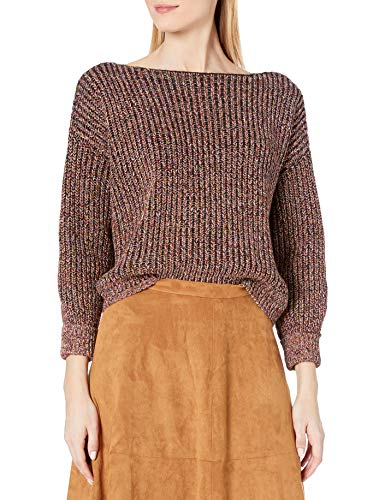 French Connection Women's Millie Mozart Solid Knits Cotton Sweaters, Black Multi, L