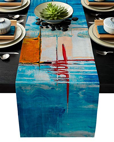 Flowraler 13x90 inch Linen Burlap Table Runner for Dining Room, Abstract Geometric Blue Table Runners Dresser Scarves for for Farmhouse Kitchen Wedding Holiday Parties Decor, Colorful