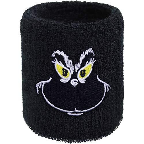 Lustiges Schweissband Smiley-Grinch Motiv Hipster Designer Schweißband Stickerei & Absorbierendes Frottee Handgelenk Arm Schwarz Motor-Sport Wristband Rocker Geschenk Biker Armband