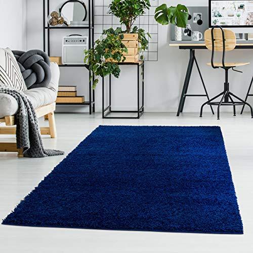 ayshaggy Shaggy Teppich Hochflor Langflor Einfarbig Uni Blau Weich Flauschig Wohnzimmer, Größe: 150 x 150 cm Quadratisch