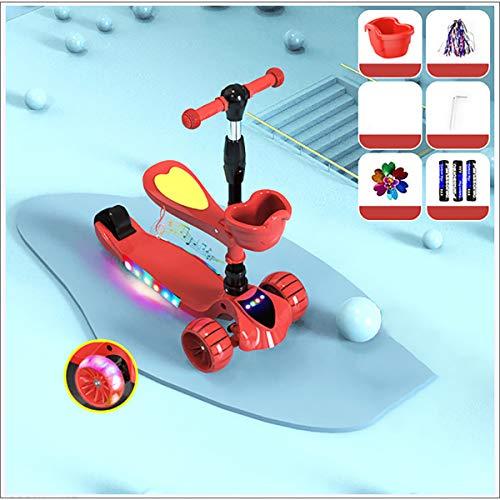 XER Calle/Sport Scooter, los niños de 3 Ruedas Kick Scooter, Ruedas de Gran tamaño Gran Scooters Light Up Ruedas para niños, Muchachas del niño Niños Edad 3~12,Rojo