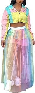 Women's A-Line Colorful Pleated Skirts Vintage Elastic Waist Rainbow Midi Skirts