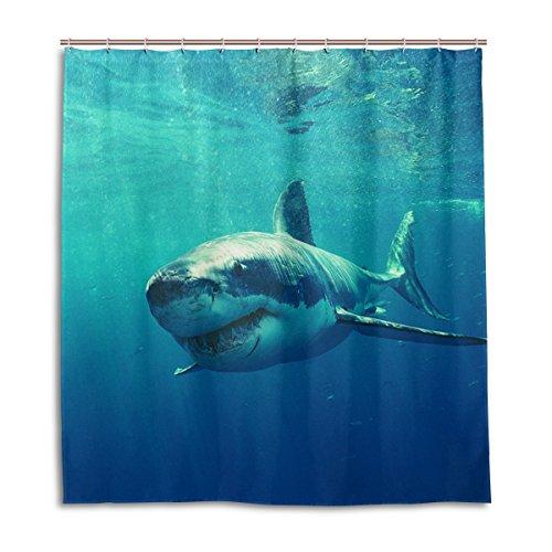 My Daily Sea Shark Duschvorhang, 178 x 178 cm, schimmelresistent, wasserdicht, Polyester, Dekoration für Badezimmer