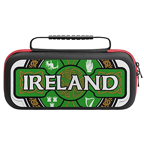 Ireland Celtic Carrying Case for Nintendo Switch,Travel Carry Cover Hard Shell Storage for Console and Accessories,Slim Protective Portable Travel Pouch Bag with 20 Game Card Slots for Girls Boys