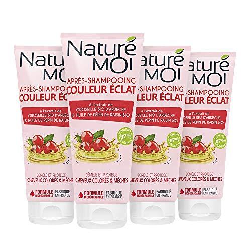 Naturé Moi – Après-shampooing couleur éclat à l'extrait de groseille d'Ardèche & huile de pépin de raisin bio – Démêle et protège les cheveux colorés et méchés – 200ml - Lot de 4
