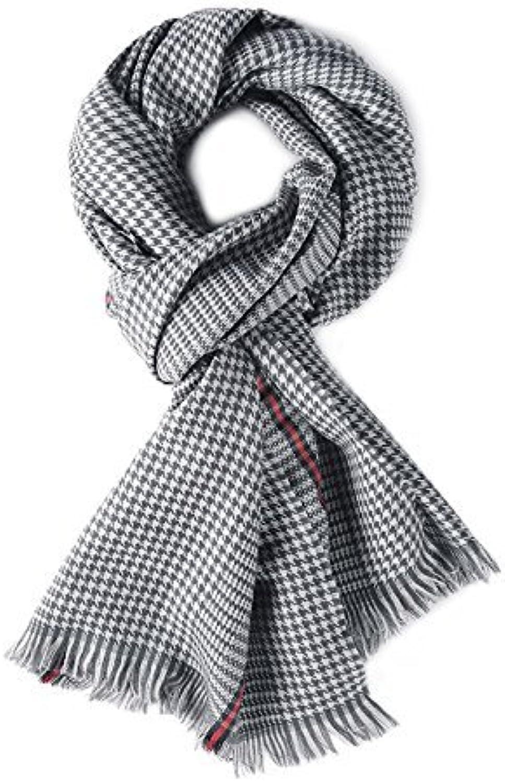 DIDIDD Scarfeuropean style men's autumn and winter warm plaid wool scarf