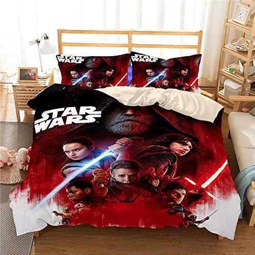 Juego de funda de edredón de Star Wars, juego de cama de dibujos animados para niños, adolescentes y adultos, funda de edredón de microfibra y funda de almohada, con cremallera (R,135 x 200 cm)