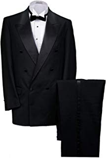 Men's Vintage Double Breasted Peak Lapel Black Tuxedo Jacket