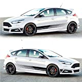 1Pair/2pcs Sports Racing Stripe Graphic Stickers Truck Auto Car Body Side Door Vinyl Decals Sports Racing Stripe Car Stickers for All Car Trunk SUV Free Size Matte Color