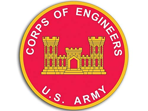 MAGNET 4x4 inch ROUND U.S. ARMY Corps of Engineers Sticker -decal castle logo insignia Magnetic vinyl bumper sticker sticks to any metal fridge, car, signs