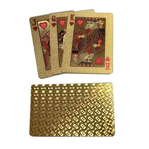 Naipes chapados en Oro, póquer con lámina Dorada Creativa, póquer con lámina de plástico Dorado, Cartas de póquer con lámina de Diamante Dorado de 24 Quilates, Cartas de plástico Impermeables