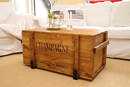 Uncle Joe´s Truhe Champagne Couchtisch Truhentisch im Vintage Shabby chic Style aus Massiv-Holz in braun mit Stauraum und Deckel Holzkiste Beistelltisch Landhaus Wohnzimmertisch Holztisch nussbaum - 3