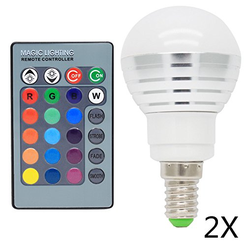2x E14 RGB LED Globus Farbwechsel Lampe 3W AC85-265V 16 Farbe mit Fernbedienung Lampe Leuchte Leuchtmittel Für Deko Bar Party KTV,120° Abstrahlwinkel