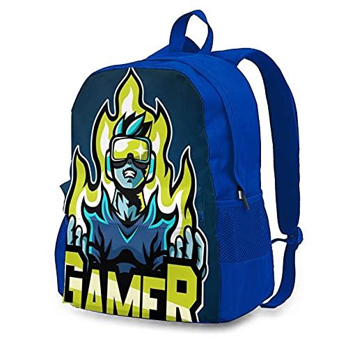 Rucksäcke Gaming-Brille, wasserdicht, groß, Schultasche, Laptop-Rucksack für Herren und Damen, Reisen, Arbeit, Einkaufen erhältlich, blau, One size
