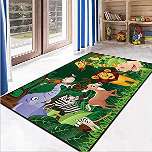 RuiHome Jungle Animals Theme Kids Game Play Mat Educational Fun Nursery Rug Classroom Bedroom Decor Non-Slip Children Activity Carpet 31″x63″