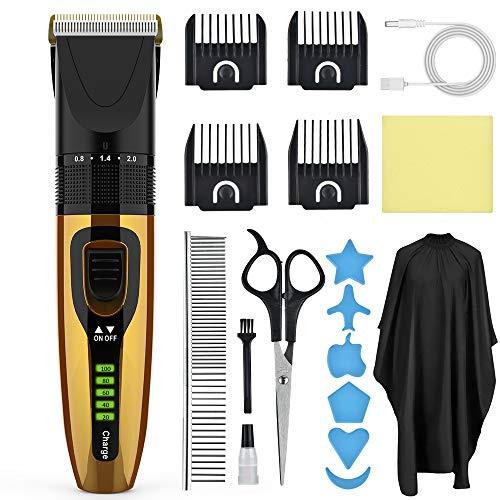 Haarschneidemaschine, Männer Haarschneider Profi, Barttrimmer und Haarschneider, Haarrasierer Set Haarscherer Maschine für Familien, 4 Aufsteckkämme und Friseurumhänge, Haartrimmer Langhaarschneider