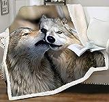 "LIASOSO Wolf Blanket Lightweight Lovely Animal Fleece Blankets Kissing Wolves Print for Lovers Teens Kids Children Girls Cozy Flannel Wool Couch Settee Throw Blanket Love Gift for Him Her 50""x60"" Gray"