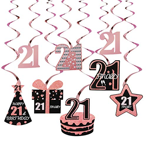 21st Birthday Decorations for Her - 8Pcs Rose Gold Foil 21 Hanging Swirls - Finally 21 Birthday Hat Cake Gift Star Decorations 21 Year Old Party Supplies